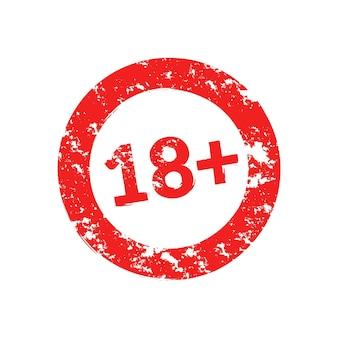 18 lat grunge okrągły czerwony znaczek ostrzegawczy