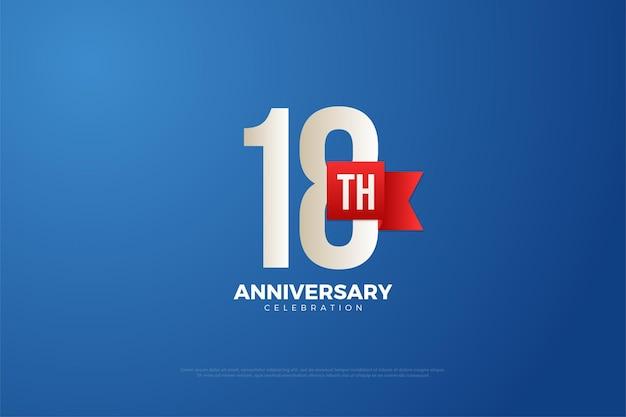 18 rocznica z cyframi i czerwoną wstążką