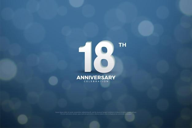 18 rocznica z cyframi w tle z efektem bokeh
