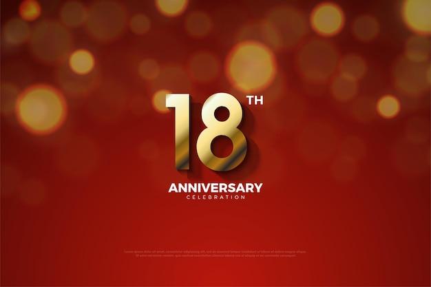 18 rocznica z liczbami skróconymi w cieniu
