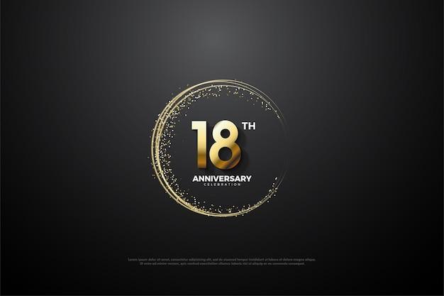18 rocznica z okrągłym złotym piaskiem i ilustracją liczb