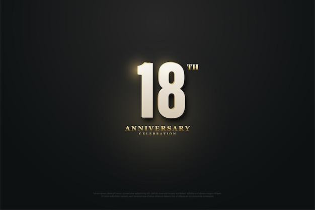 18. rocznica z podświetloną ilustracją cyfr