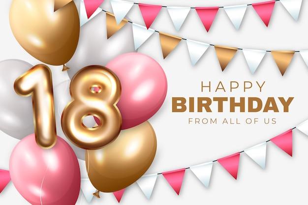 18 urodziny realistyczne tło balony