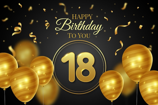 18 urodziny szczęśliwy tło z realistycznymi balonami