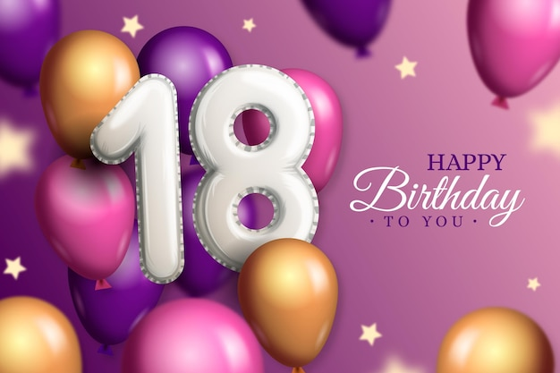18 Urodziny Szczęśliwy Tło Z Realistycznymi Balonami Darmowych Wektorów