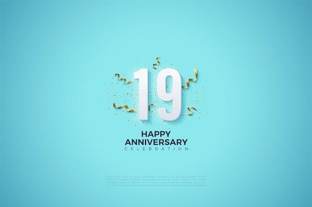 19 rocznica z numerem s ozdobionym uroczystościami imprezowymi.
