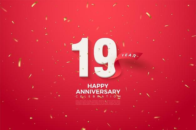 19 rocznica z zakrzywioną czerwoną wstążką za cyframi.