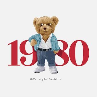 1980 slogan z lalką niedźwiedzia w stylu vintage ilustracji wektorowych mody