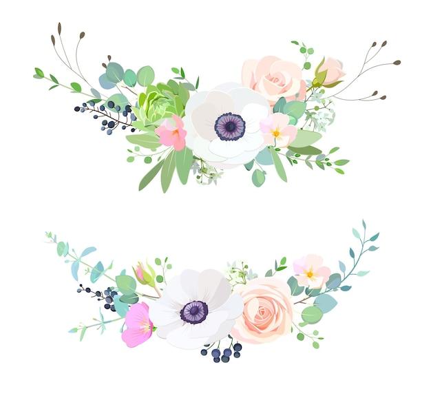 2 girlandy z białymi zawilcami, uroczymi różyczkami i liśćmi eukaliptusa