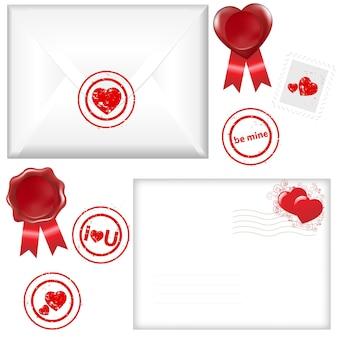 2 koperta z pieczęcią w kształcie serca, na białym tle,