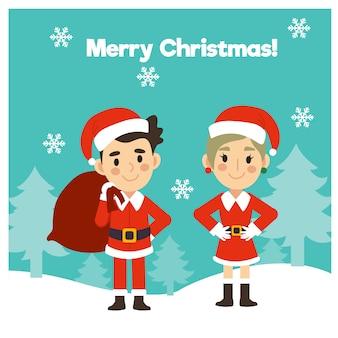2 osoby w stroju świętego mikołaja i pani mikołajowej kartkę z życzeniami wesołych świąt