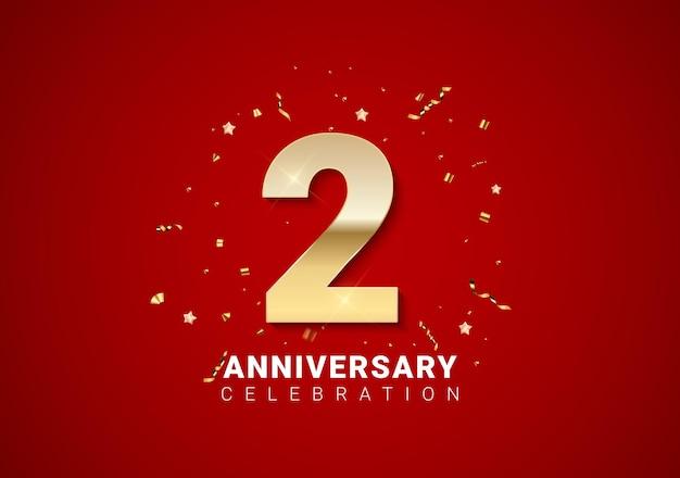 2 rocznica tło ze złotymi cyframi, konfetti, gwiazdy na jasnym czerwonym tle wakacje. ilustracja wektorowa eps10