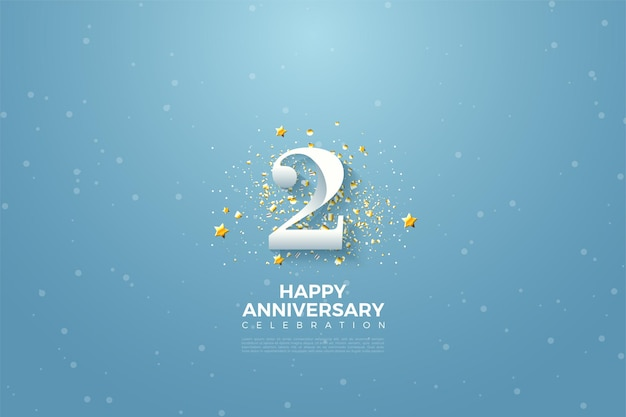 2. rocznica z numerem ilustracji na błękitnym niebie.