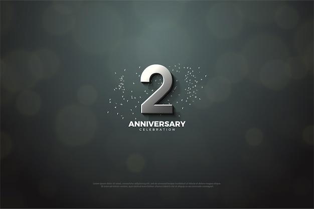 2. rocznica ze srebrnymi cyframi i ilustracjami z brokatem.