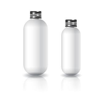 2 rozmiary białej owalnej okrągłej butelki kosmetycznej z czarną zakrętką dla urody lub zdrowego produktu.