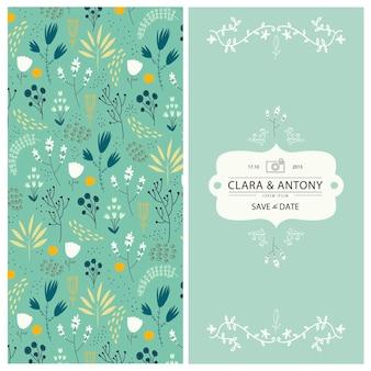 2 strony floral tło z ręcznie rysowane kwiaty