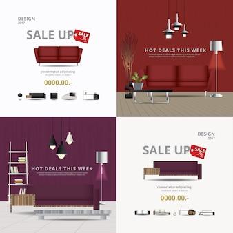 2 sztandaru projekta sprzedaży szablonu wektoru meblarska ilustracja