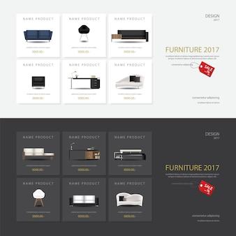 2 sztandaru projekta szablonu wektoru meblarska sprzedaż ilustracja