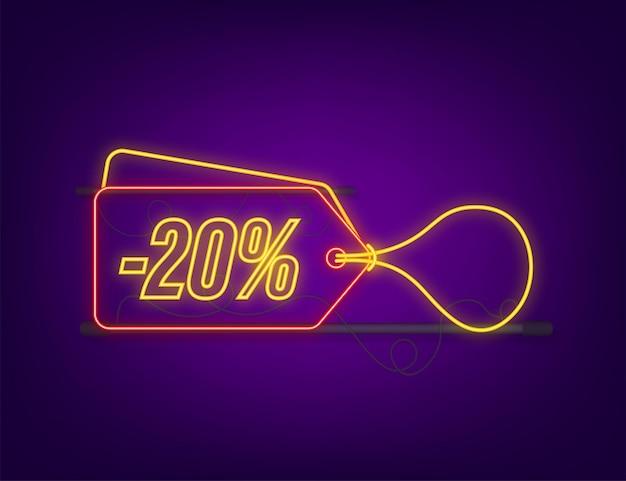 20 procent off wyprzedaż rabat neon tag. oferta rabatowa cenowa. 20 procent zniżki promocji płaski ikona z długim cieniem. ilustracja wektorowa.