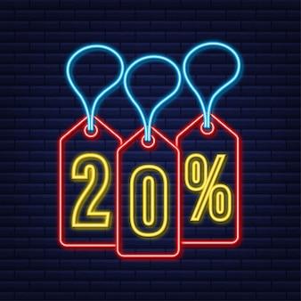 20 procent off wyprzedaż rabat neonowy tag oferta rabatowa cena promocyjna 20% rabatu!