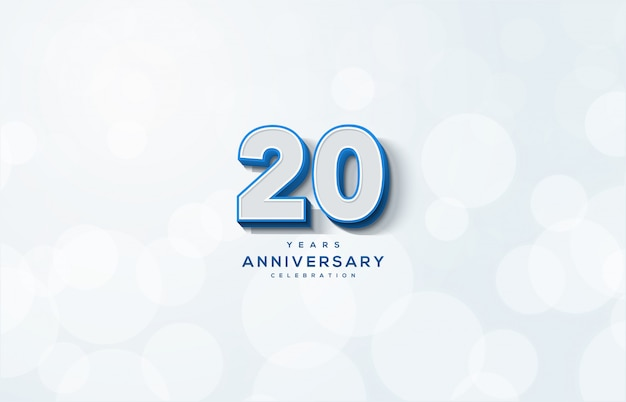 20. rocznica z białymi liczbami 3d ilustracją.
