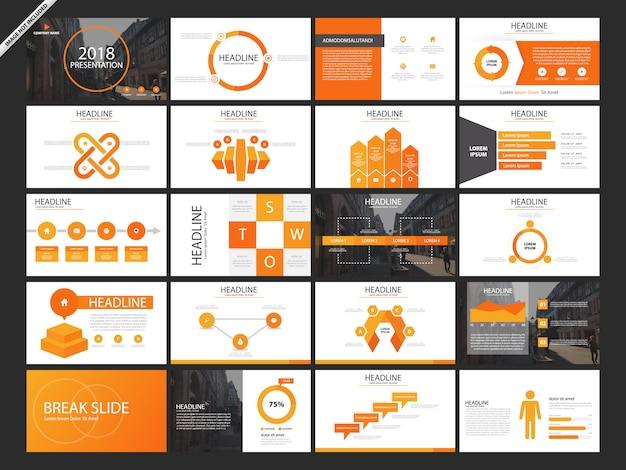 20 zestaw pomarańczowych slajdów prezentacji