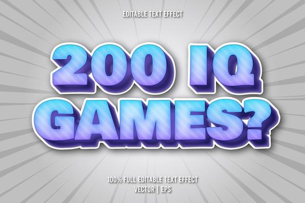 200 gier iq edytowalny styl komiksowy z efektem tekstowym