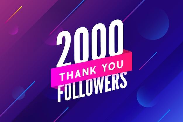 2000 obserwujących wektor powitanie karta społeczna dziękuję obserwującym