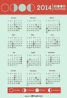 2014 fazami księżyca kalendarz symbole