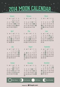 2014 fazami księżyca kalendarz z zielonym wzorem