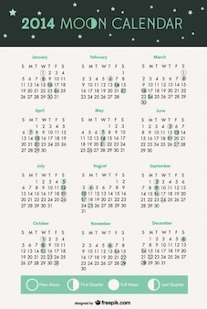 2014 fazami księżyca kalendarz