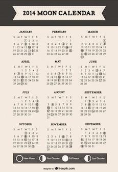 2014 fazami księżyca kalendarza minimalistycznym stylu