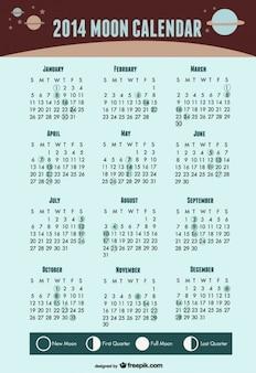 2014 księżyc kalendarz