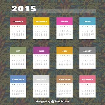 2015 kalendarz z kolorowych etykiet