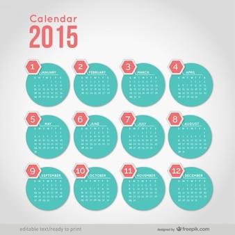 2015 kalendarz z minimalistycznych kształtach okrągłych