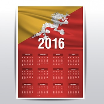 2016 kalendarz bhutan