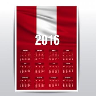 2016 kalendarz peru flagi