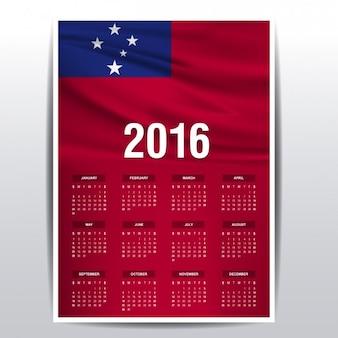 2016 kalendarz samoa flagą