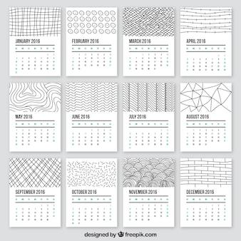 2016 kalendarz w doodle stylu