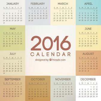 2016 rok kalendarz