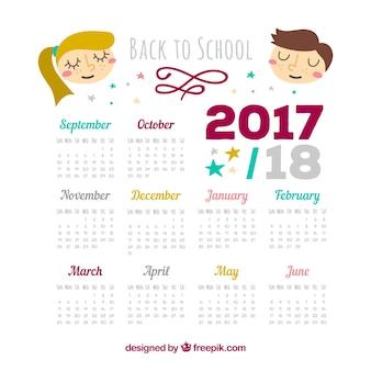 2017-2018 kalendarz szkolny z miłymi dziećmi