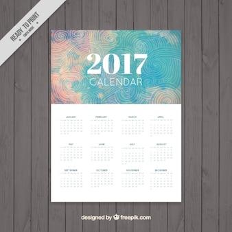 2017 kalendarz w sposób abstrakcyjny wzór z spirale rysunków