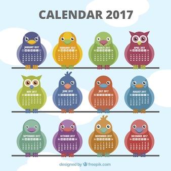2017 kalendarz z różnymi rodzajami ptaków