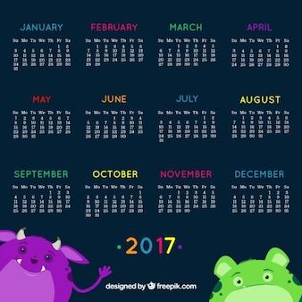 2017 kalendarz z uśmiechem potworów