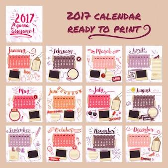 2017 kalendarza dla dziewczynek