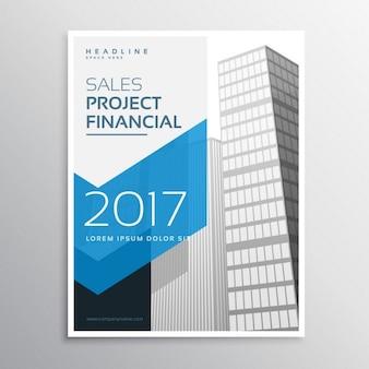 2017 ulotka firmy lub broszura szablon projektu z niebieską strzałkę nad kształtem tle budynku