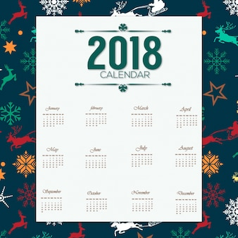 2018 desgin kalendarza z wzorem chrismas