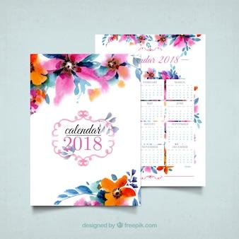 2018 kalendarz kwiatów akwarelowych