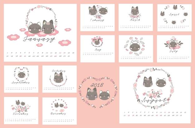 2018 kalendarz z kotem i kwiatowy