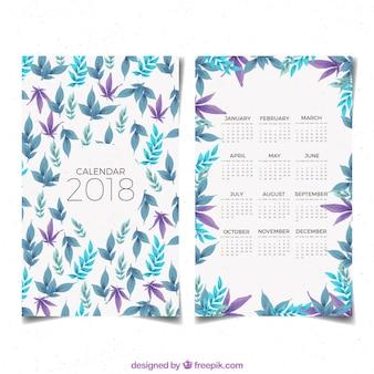 2018 kalendarz z liśćmi